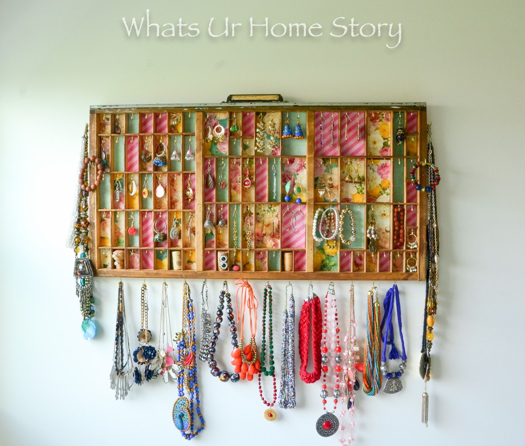 Turn an old printer's tray into a great display station for your earrings and necklaces -Letterpress Tray Jewelry Holder-0798