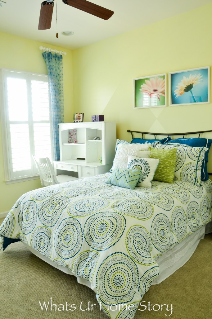 green and blue girls room in a neutral and eclectic home