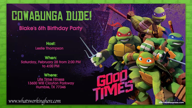 Ninja Turtle Party Invitation