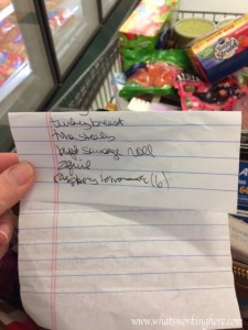 Folded Grocery List