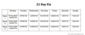 21 Day Fix Workout Checklist