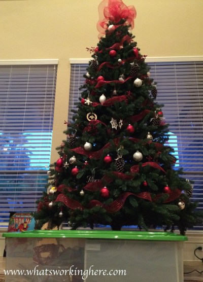 Decorated Christmas Tree and Tree Box