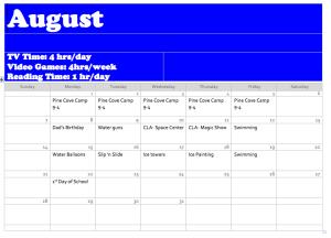 August 2016 Activity Calendar