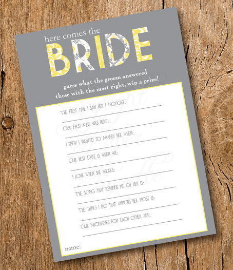 Bridal Shower Game- Here Comes the Bride
