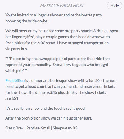 Bachelorette Party Details