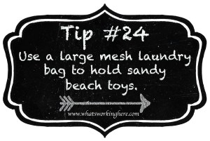 Tip 24- Use a mesh laundry bag for beach toys