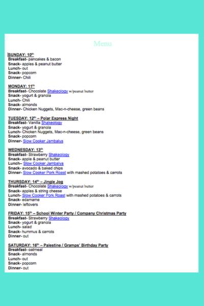 December 10th Weekly Menu