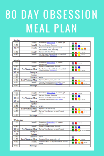 80 Day Obsession Meal Plan & Meal Ideas - What's Working Here