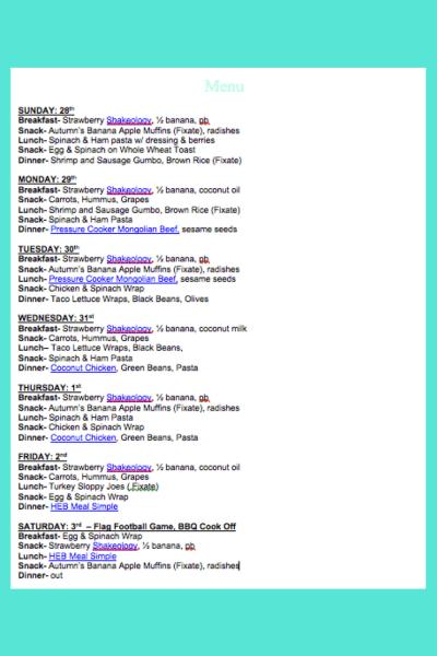 January 28th Weekly Menu