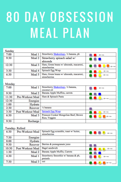 80 Day Obsession Meal Plan- April 1