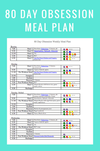 80 Day Obsession Meal Plan Template  You can find resources for the 80 Day Obsession Meal Plan here.