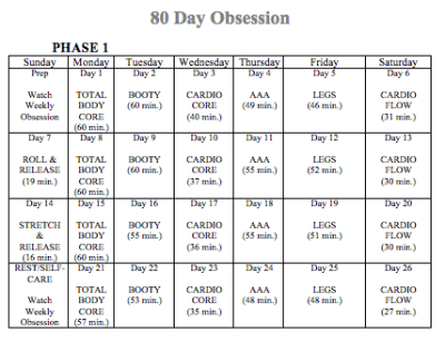 80 Day Obsession Workout Calendar