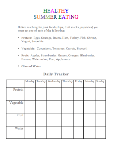 Healthy Summer Eating List & Tracker