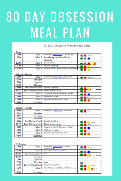 June 10th Menu - 80 Day Obsession Peak Week