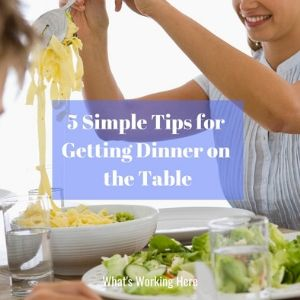5 tips for getting dinner on the table - mom and son eating pasta