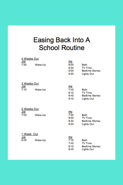 Easing back into a School Routine