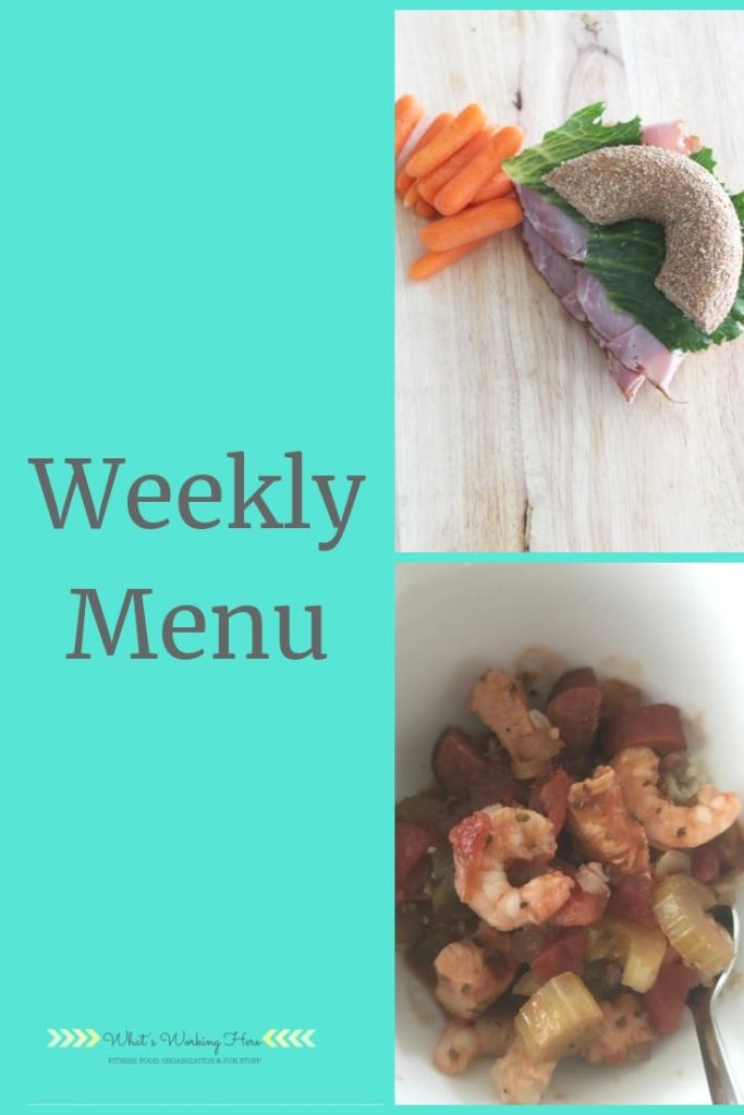 May 19 Weekly Menu - Bagel sandwich, shrimp & Sausage gumbo