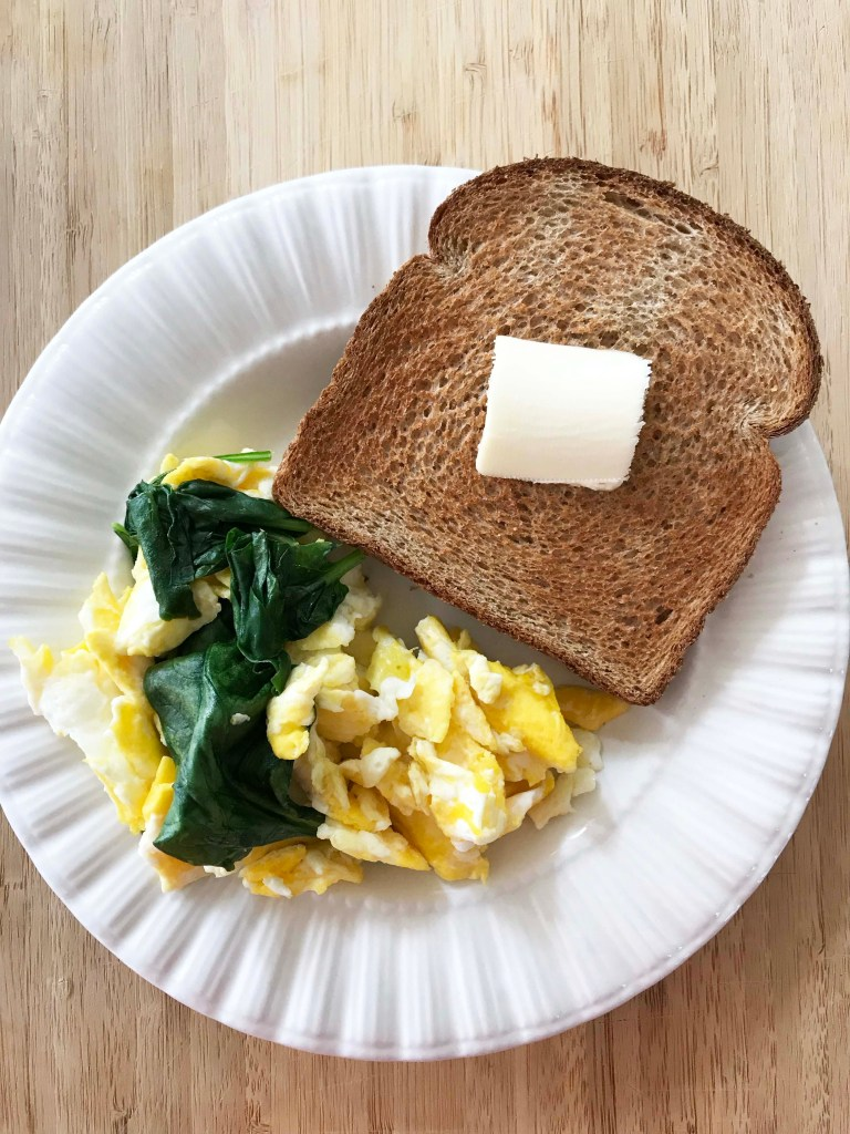 Spinach Egg Scramble with Toast