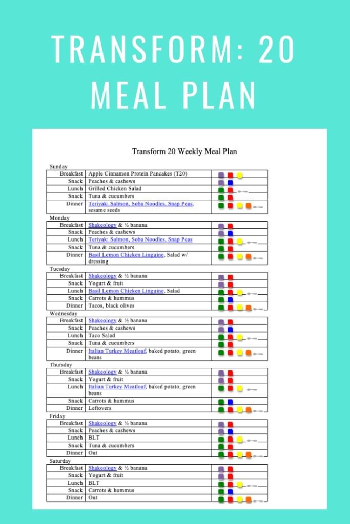 Transform 20 Meal Plan- Jan 13