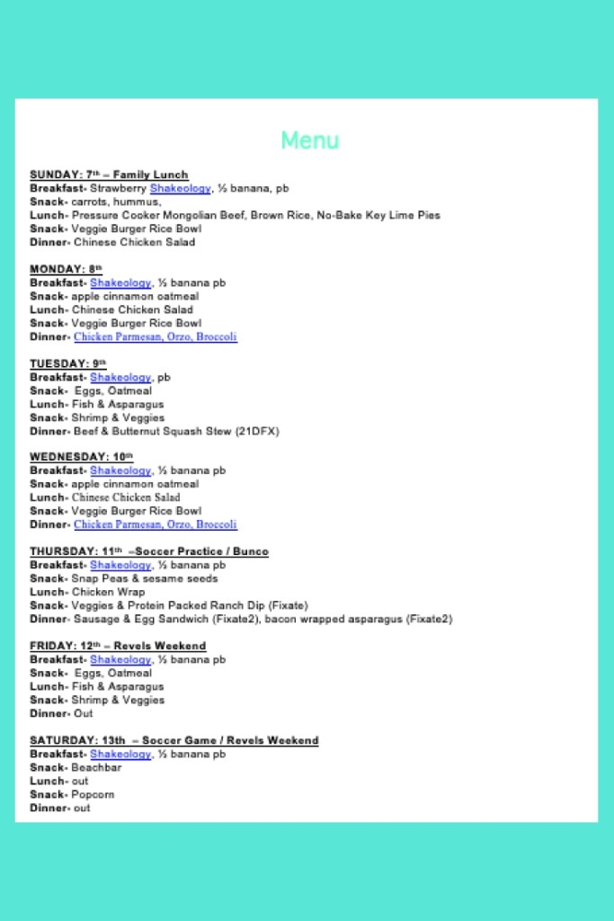 Weekly Menu- April 7