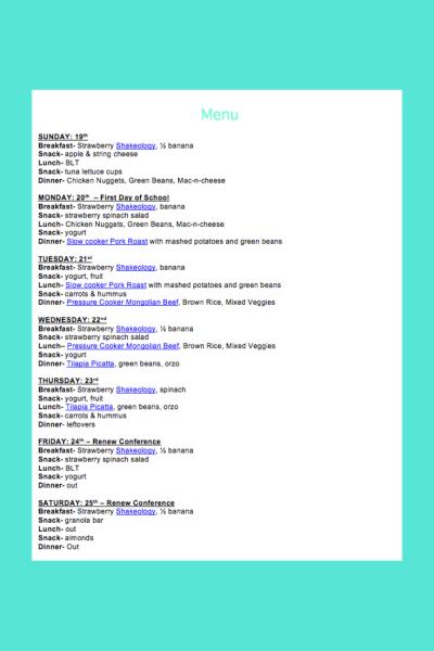Weekly Menu- Aug 19