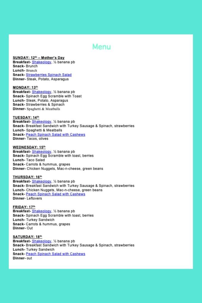 Weekly Menu- May 12