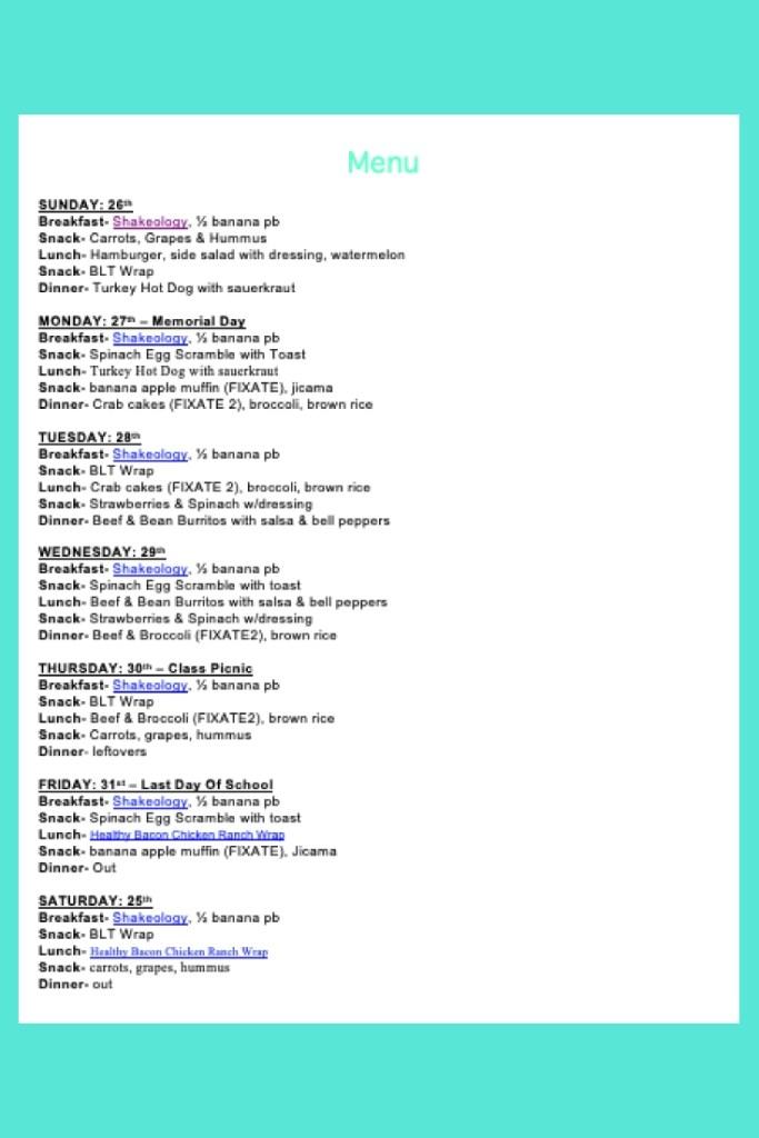 Weekly Menu- May 26