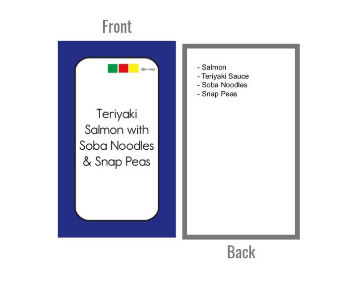 color combo meal plan cards - front & back- with ingredient list