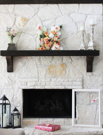 girl baby shower mantel decor