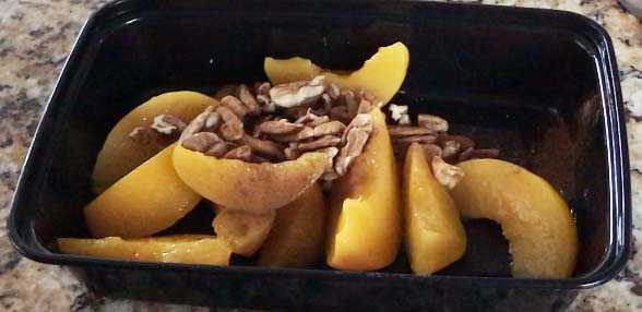 peaches and pecans with a dash of cinnamon makes a tasty snack