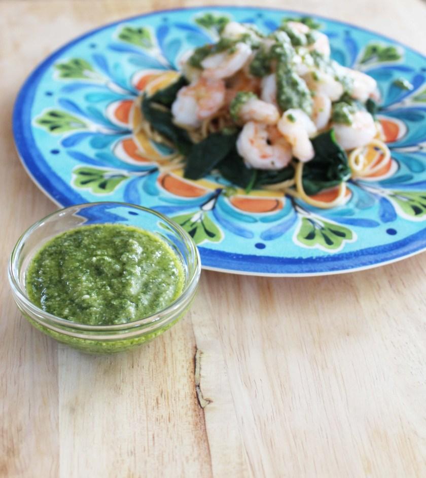 pesto for shrimp and spinach pasta