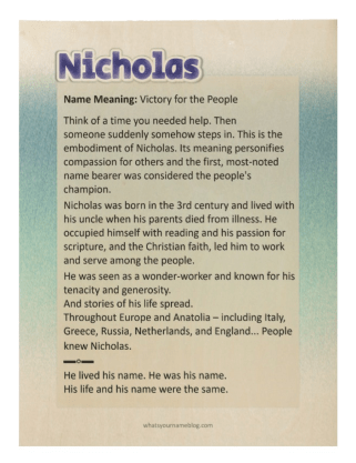 Nicholas (sample wood poster)