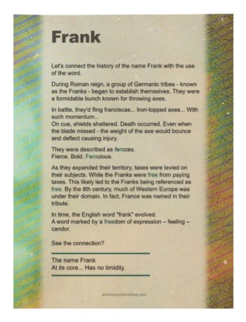Frank (sample wood poster)
