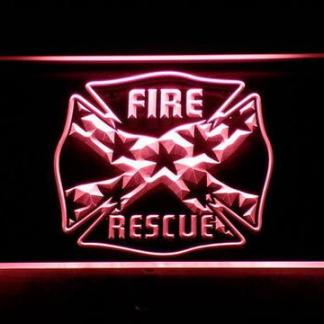 Fire Rescue Confederate Flag neon sign LED