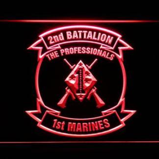 US Marine Corps 2nd Battalion 1st Marines neon sign LED