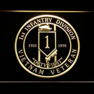 US Army 1st Infantry Division Vietnam Veteran neon sign LED