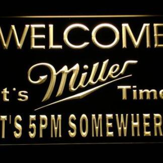 Miller It's Miller Time 5pm neon sign LED