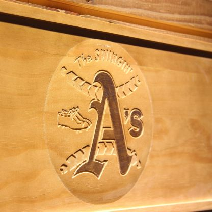 Oakland Athletics 1971-1981 Swinging A`s Wood Sign - Legacy Edition neon sign LED