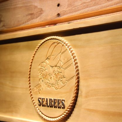 US Navy Seabees Wood Sign neon sign LED