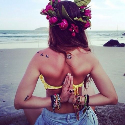 namaste, girl, ocean, at peace, flowers