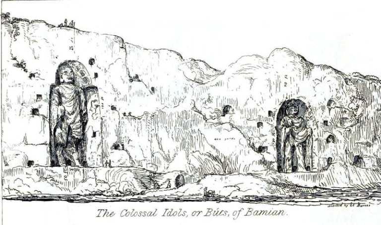 18th century sketch of the Buddhas of Bamiyan