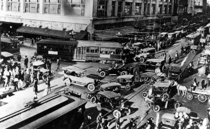 This is a photo of traffic in Los Angeles from the 1920s. I found it in an article about LA traffic control that was posted on The Atlantic Cities