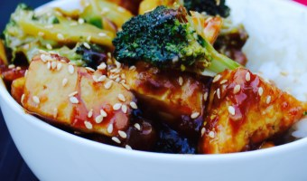 Sweet and Sour Tofu with Broccoli and Almonds
