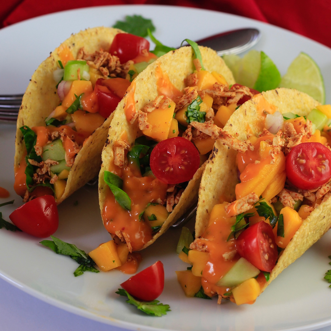 Tofu Tacos with Melted Chao Cayenne Cheese and Mango Salsa17