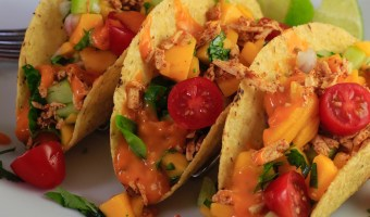 Tofu Tacos with Melted Chao Cayenne Cheese and Mango Salsa