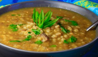 Curried Mushroom Barley Lentil Soup with Spinach
