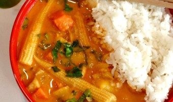 Thai Red Curry with Sweet Potatoes, Baby Corn and Peaches