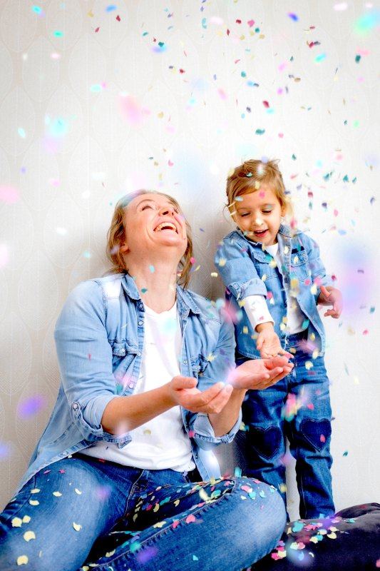 mom and daughter celebrating