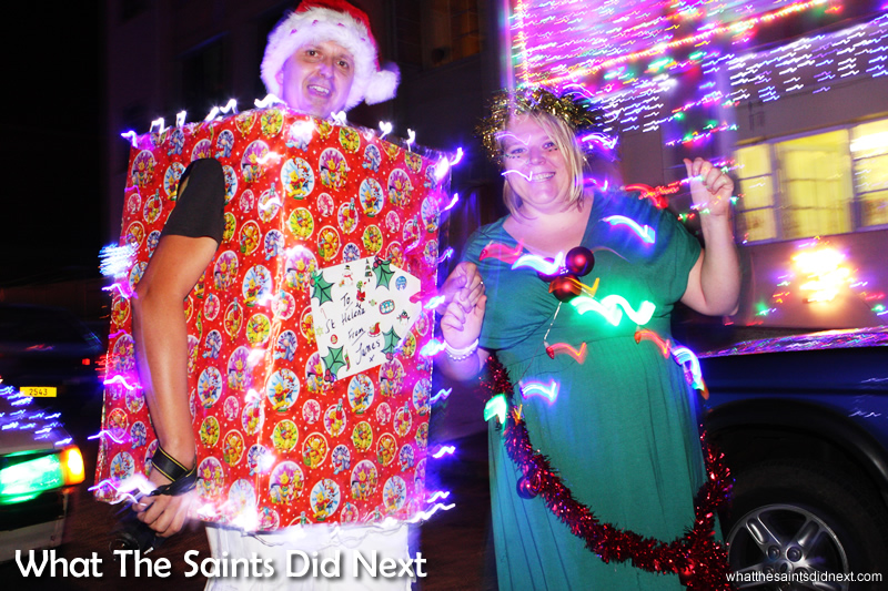 A well lit Christmas present in the parade - St Helena Festival of Lights 2014