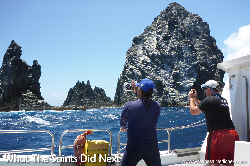 Passing close to Speery Island. Georgia Aquarium conducting whale shark research on St Helena.